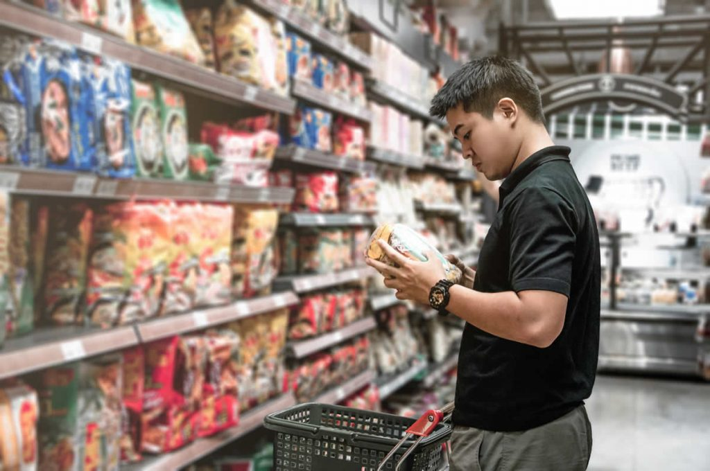 Reading labels in the snack food aisle